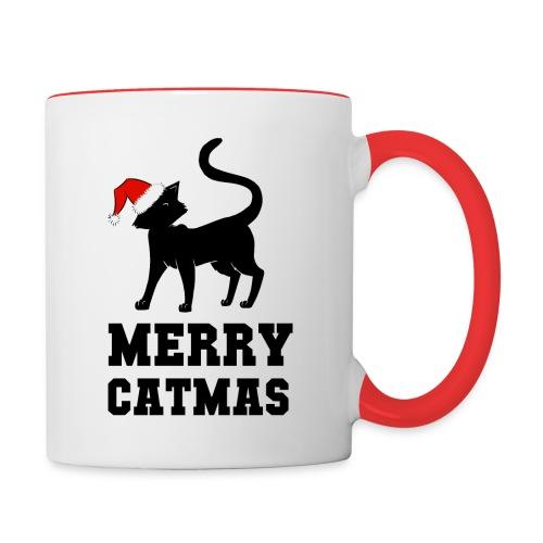 Merry Catmas - Silhouette - Tasse zweifarbig