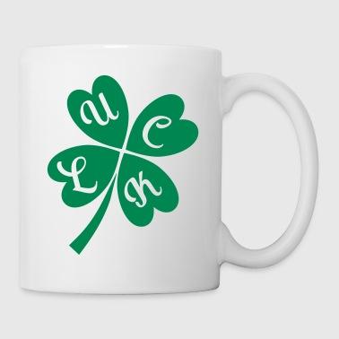 Glücksklee Glückwunsch Vierblättriges Kleeblatt - Tasse