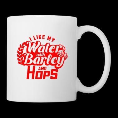 Ik hou van mijn water met gerst en hop - rood - Mok