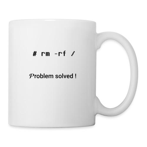 rm -rf Problem Solved - noir - Mug blanc
