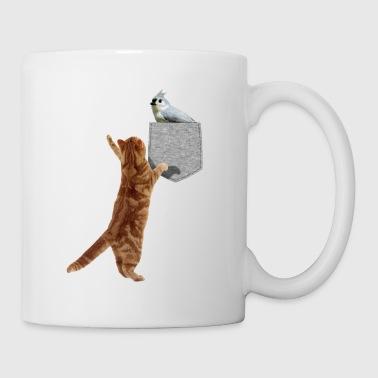 Kissa saavuttaa Tufted Titmouse Fake Print-On - Muki