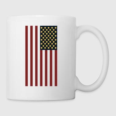 Flaga USA z kryptowalutą Logo HODL z Dogecoin - Kubek