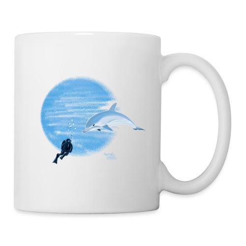 Dolphin and diver - Maillots - Mug blanc