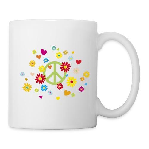 Peacezeichen Blumen Herz flower power Valentinstag - Mug