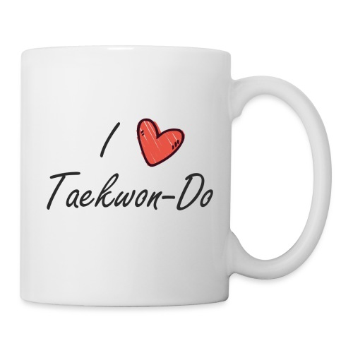 I love taekwondo letras negras - Taza