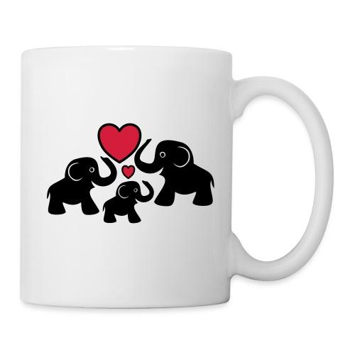 Zu dritt Elefanten Familie Mama Papa Baby Herz - Tasse