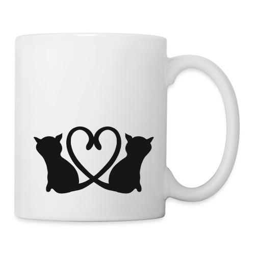 Katzen bilden ein Herz mit ihren Schwänzen - Tasse