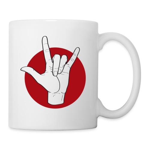 Fingeralphabet ILY white / red - Tasse