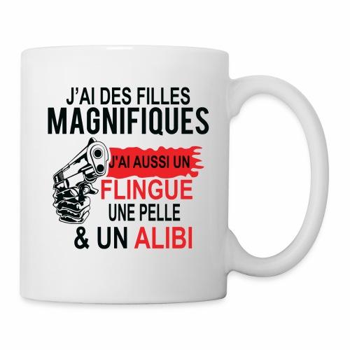 J'AI DEUX FILLES MAGNIFIQUES Best t-shirts 25% - Mug blanc