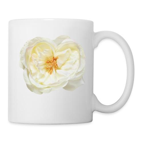 Weiße Rose (aus Stoff) - Tasse