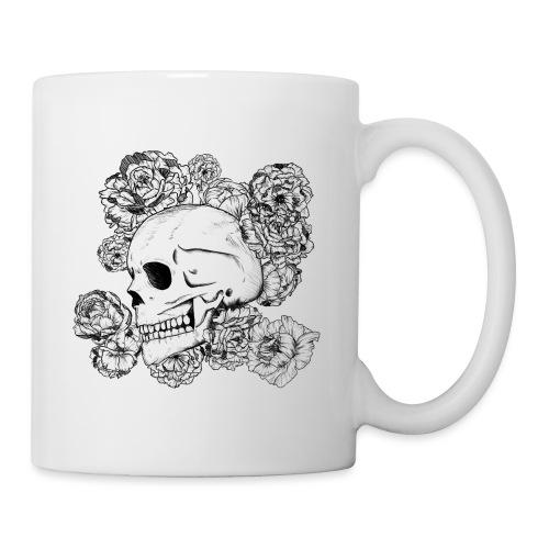 Teschio con fiori, disegno in inchiostro nero - Tazza