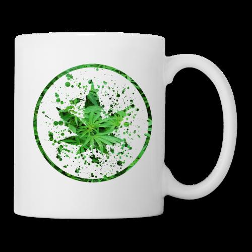Cannabisblatt Farbklecks im Kreis - Tasse