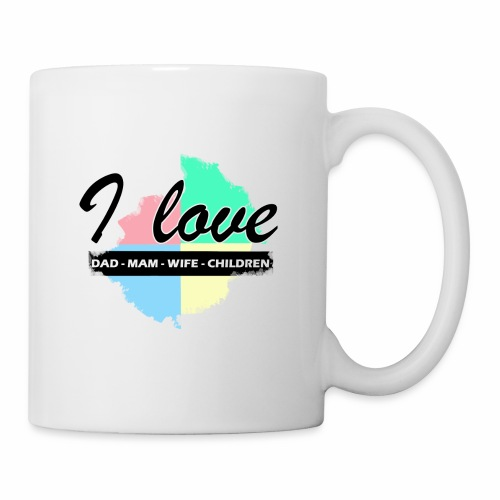 I love dad mom wife children - Mug blanc