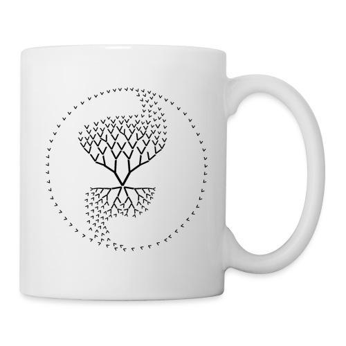 arbre de vie yin yang qi avec une seule lettre V - Mug blanc