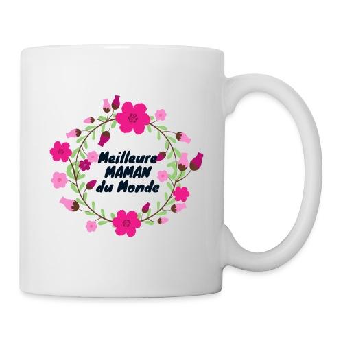 Meilleure maman du monde, fête des mères, fleurs - Mug blanc