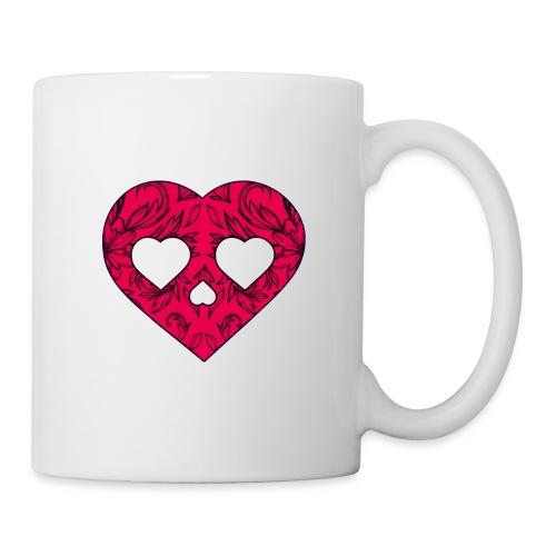 Pink Heart Skull by VINRECH 3D - Mug blanc