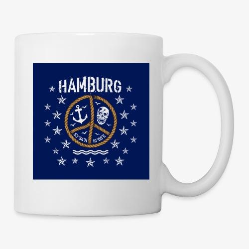 07 Hamburg Totenkopf Koordinaten Peace Anker Maske - Tasse