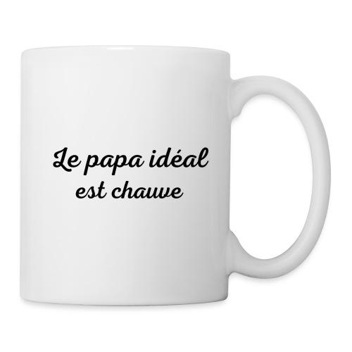 t-shirt fete des pères le papa idéal est chauve - Mug blanc
