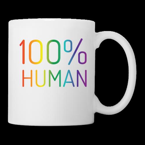 100% Human in regenboog kleuren - Mok