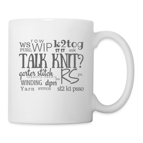 Talk Knit ?, gray - Mug