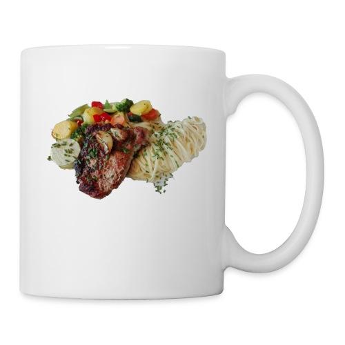 Steak mit Gemüse und Beilage - Tasse
