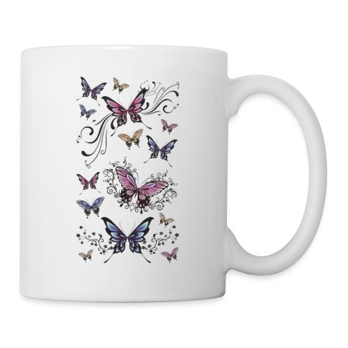 Tattoo de mariposas lilas y rosas - Taza