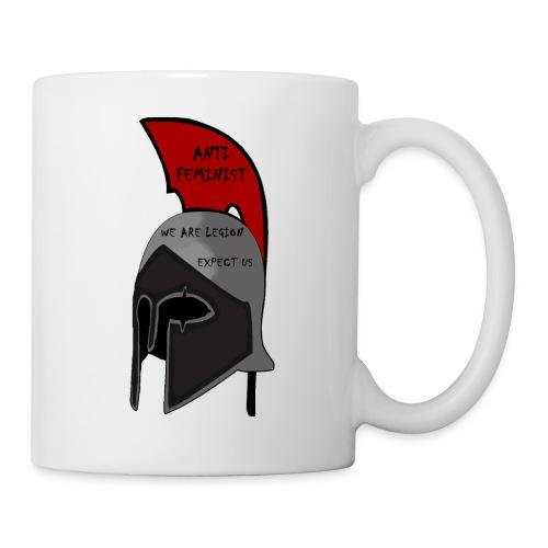 Casque spartiate anti-féministe rouge et noir - Mug blanc