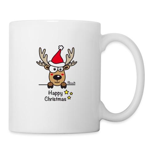 Renne Joyeux Noël - Happy Christmas, Humour, Drôle - Mug blanc