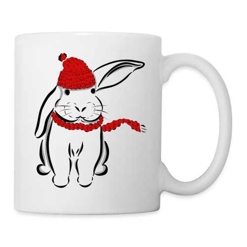 Kaninchen Hase Mütze Schal Schlappohr Schneehase - Tasse