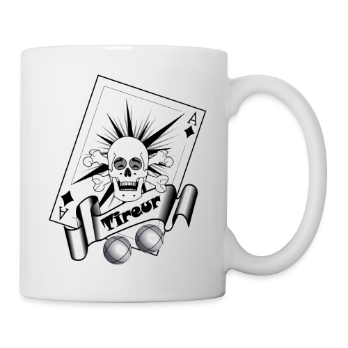 t shirt petanque tireur crane rieur carreau boules - Mug blanc