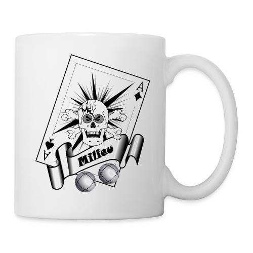 t shirt petanque milieu crane as pointe tir boules - Mug blanc