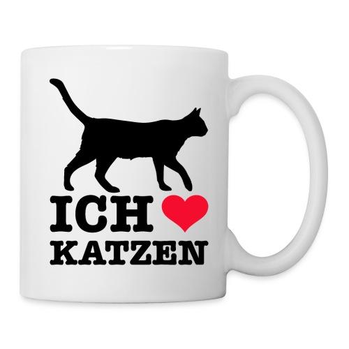 Ich liebe Katzen mit Katzen-Silhouette - Tasse