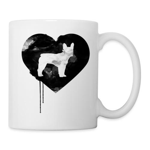 Französische Bulldogge Herz mit Silhouette - Tasse