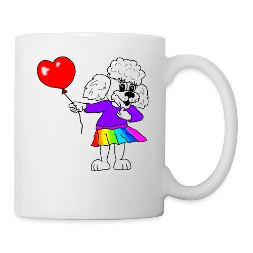 Pudelmädchen mit Herz-Luftballon - Tasse