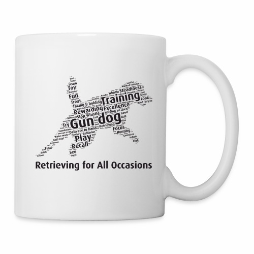 Retrieving for All Occasions wordcloud svart - Mugg