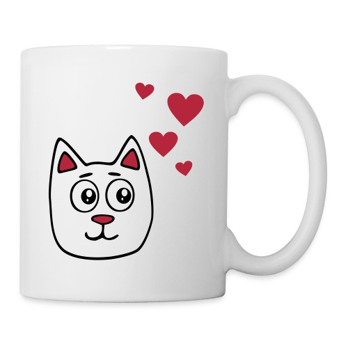 White cartoon cat - Mug
