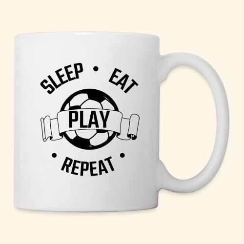 FOOTBALL soccer - Eat sleep play repeat - ballon - Mug blanc
