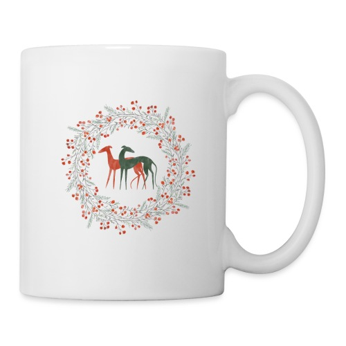Windhunde im Winterkranz - Tasse