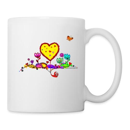 Blumengruß mit Herz - Tasse