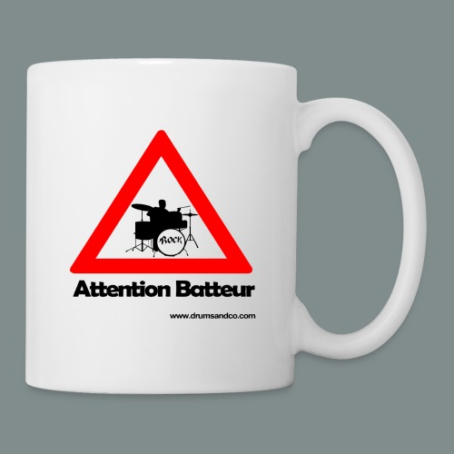 Attention batteur - cadeau batterie humour - Mug blanc