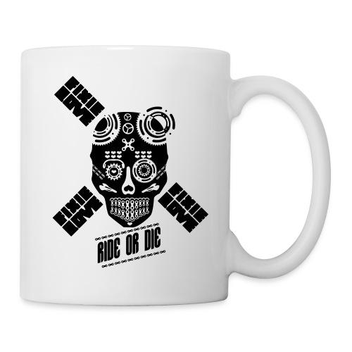 skull riding ride or die - Mug blanc