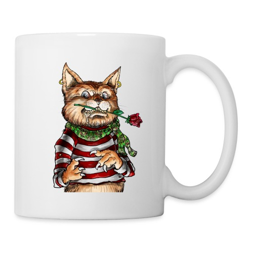 T-shirt - Crazy Cat - Mug blanc