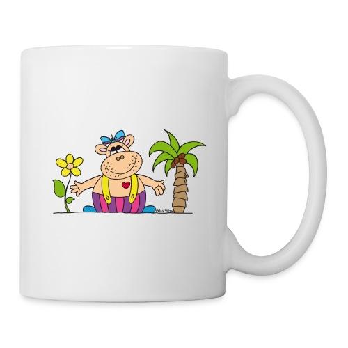 lustiges Nilpferd Sonnenblume Palme Hippo - Mug