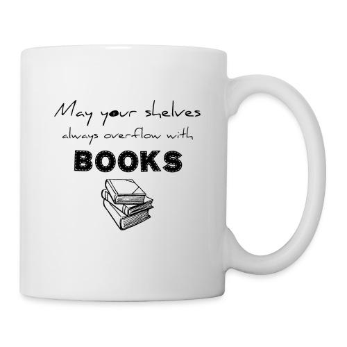 0033 Full Bookshelf   High stack of books   Read - Mug