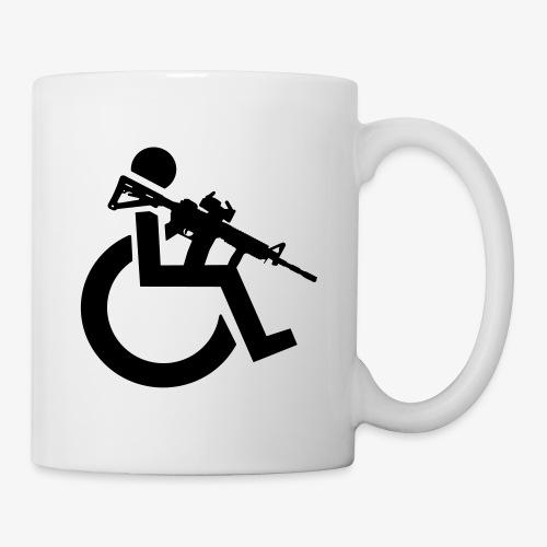 Gewapende rolstoel gebruiker met geweer, wapen - Mok