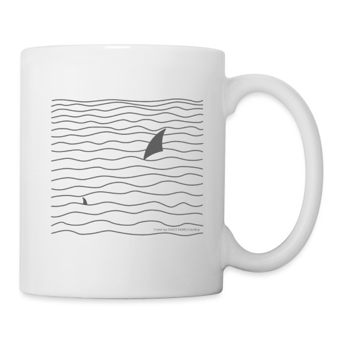 Windsurfer & Shark (black) - Tasse
