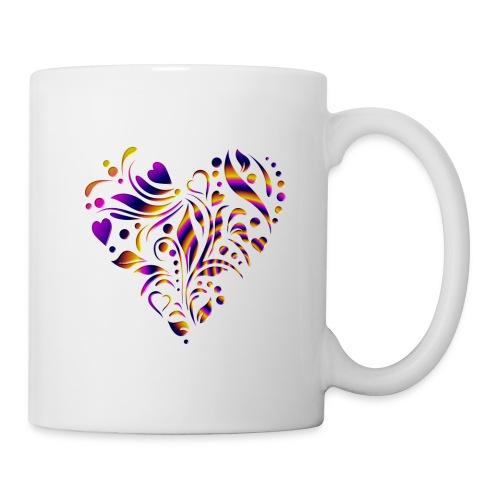 motif coeur multicolor - Mug blanc