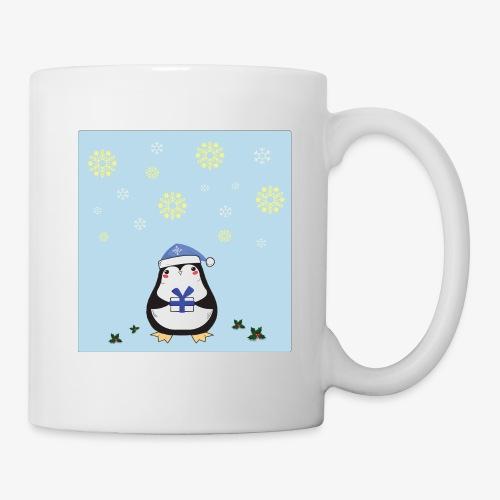 pingouin de Noel sur fond bleu - Mug blanc