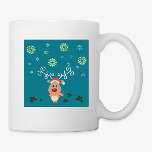 petit cerf fond bleu - Mug blanc