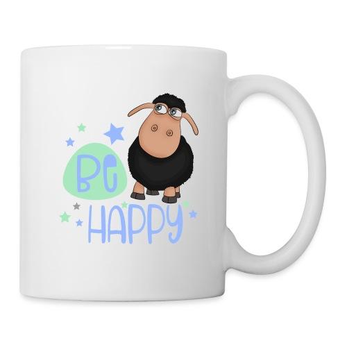 Schwarzes Schaf - Be happy Schaf - Glücksbringer - Tasse